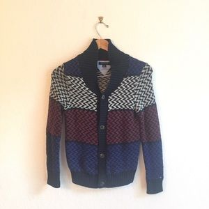 Tommy Hilfiger L sweater button down navy blue